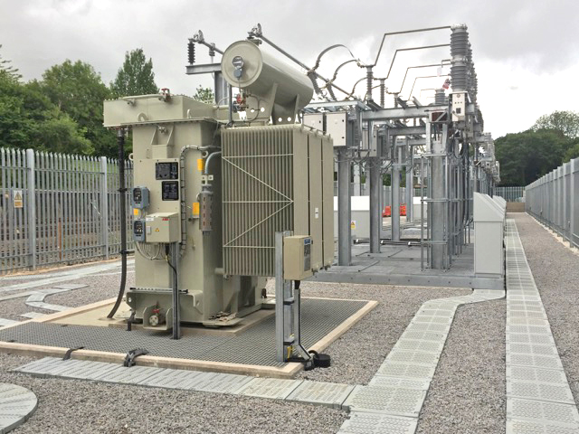 Green Trough lightweight composite cable trough installed at a substation in the UK