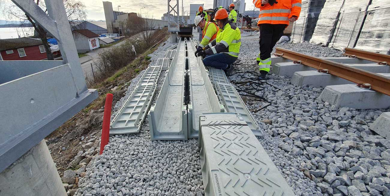 Green Trough cable duct installed at rail depot in Norway