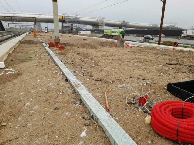 Green Trough 150 series recycled plastic cable duct during installation at Koge Nord Station, Denmark